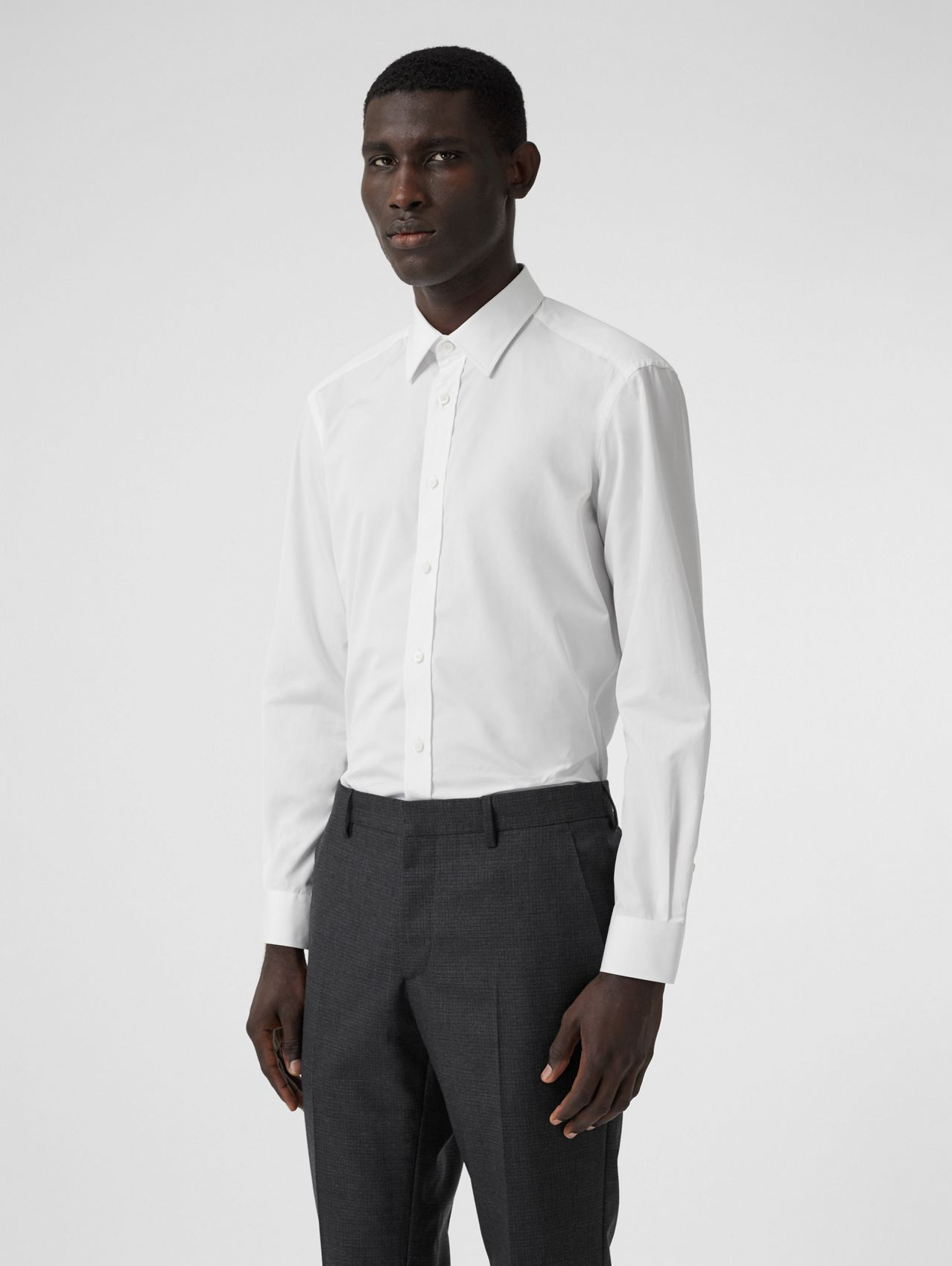 Classic Fit Monogram Motif Cotton Poplin Shirt in White
