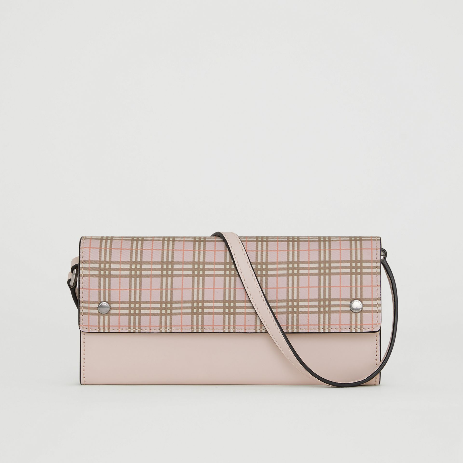 Portefeuille à micro-motif check avec sangle amovible (Rose Glacé) - Femme | Burberry - photo de la galerie 0