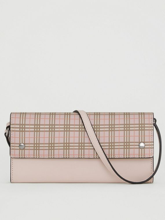 Small Scale Check Wallet with Detachable Strap in Ice Pink
