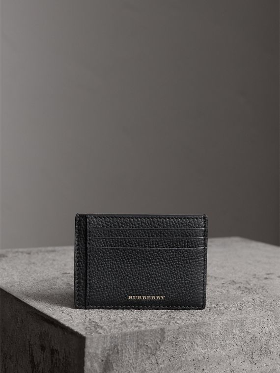 House Check and Leather Money Clip Card Case in Black - Men | Burberry United States - cell image 3