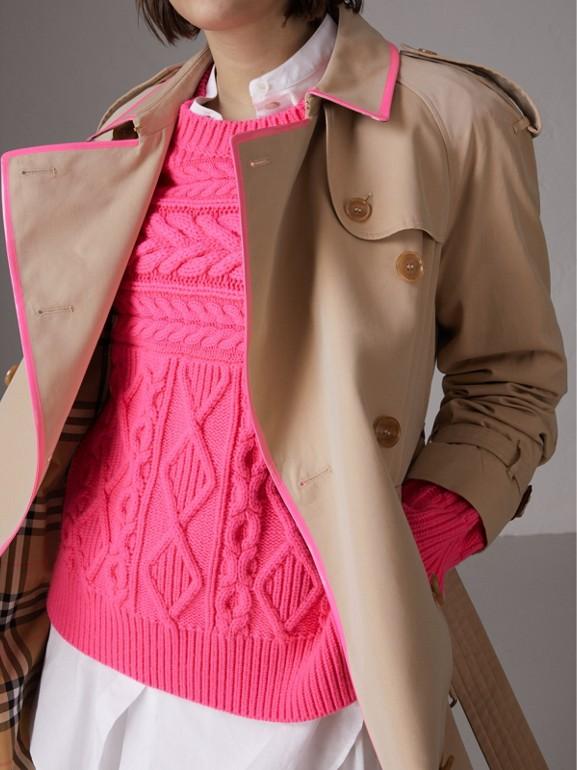 Tape Detail Cotton Gabardine Trench Coat in Honey - Women | Burberry United Kingdom - cell image 1
