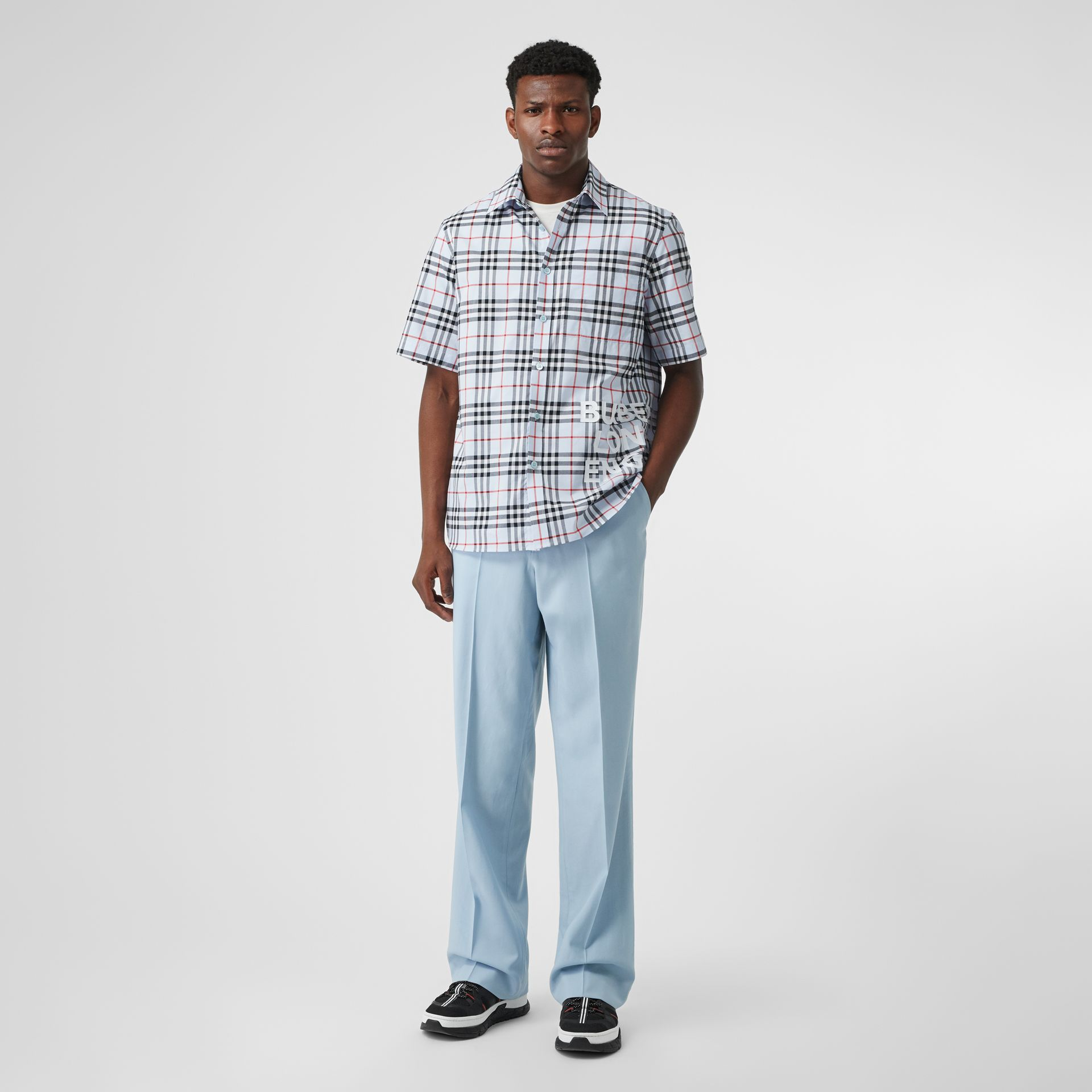 Short-sleeve Vintage Check Cotton Oversized Shirt in Pale Blue - Men | Burberry Hong Kong S.A.R - gallery image 0