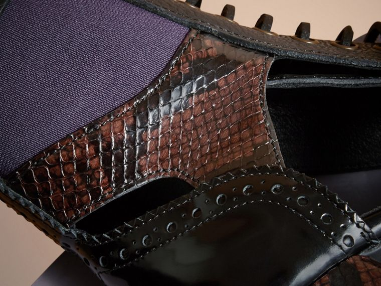 Leather and Snakeskin Cut-out Platform Boots Dark Chocolate - cell image 4