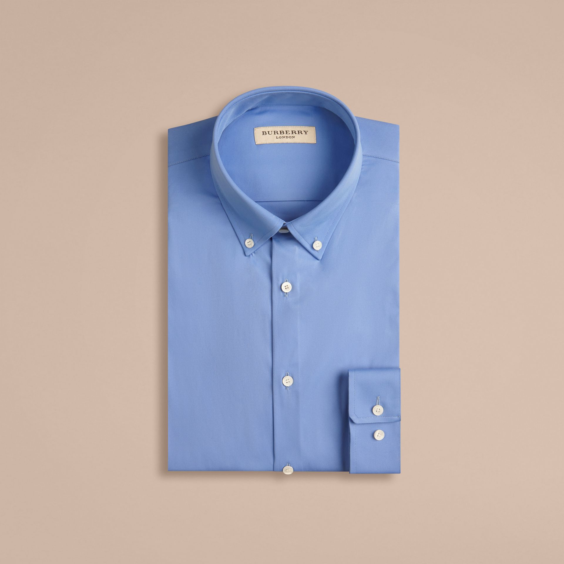 Slim Fit Button-down Collar Stretch-cotton Shirt Mid Blue - gallery image 4