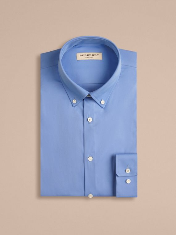 Slim Fit Button-down Collar Stretch-cotton Shirt in Mid Blue - cell image 3