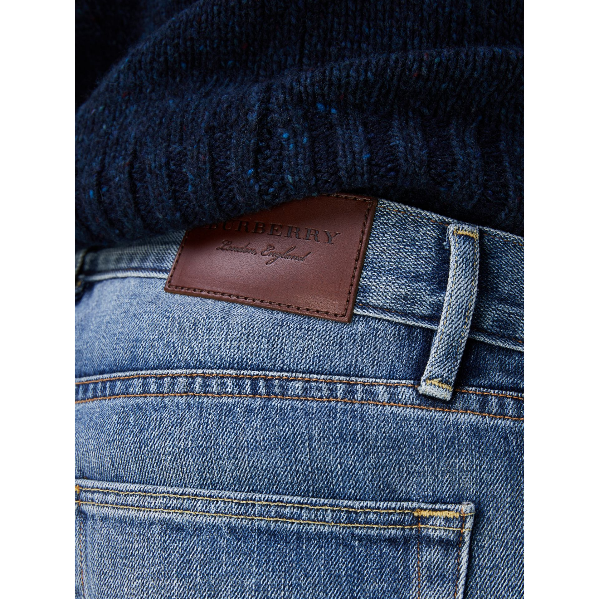 Slim Fit Washed Japanese Selvedge Denim Jeans in Light Indigo - Men | Burberry United Kingdom - gallery image 1