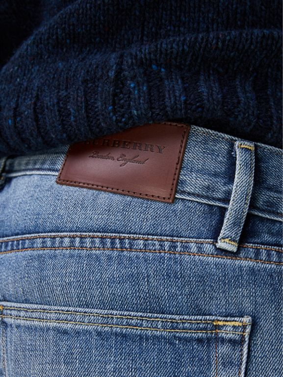 Slim Fit Washed Japanese Selvedge Denim Jeans in Light Indigo - Men | Burberry United Kingdom - cell image 1