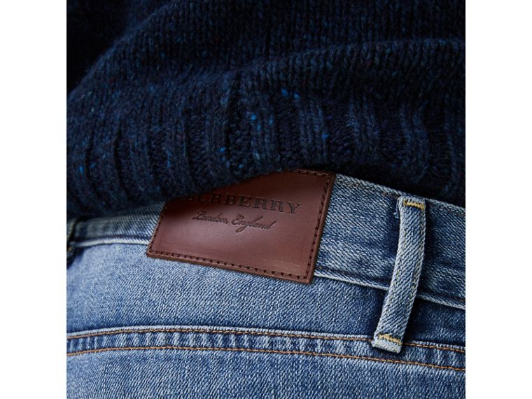 Slim Fit Washed Japanese Selvedge Denim Jeans in Light Indigo - Men | Burberry - cell image 1