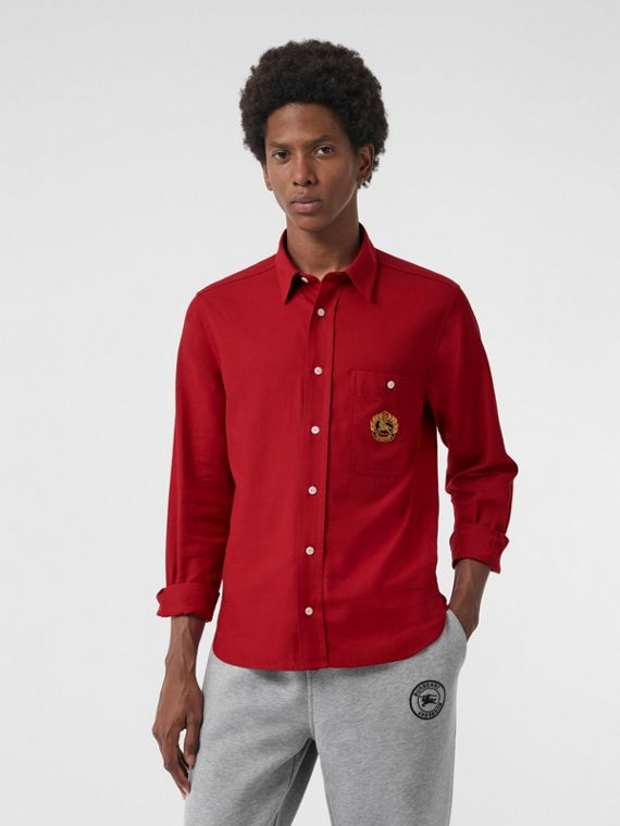 Embroidered Crest Flannel Shirt in Poppy Red