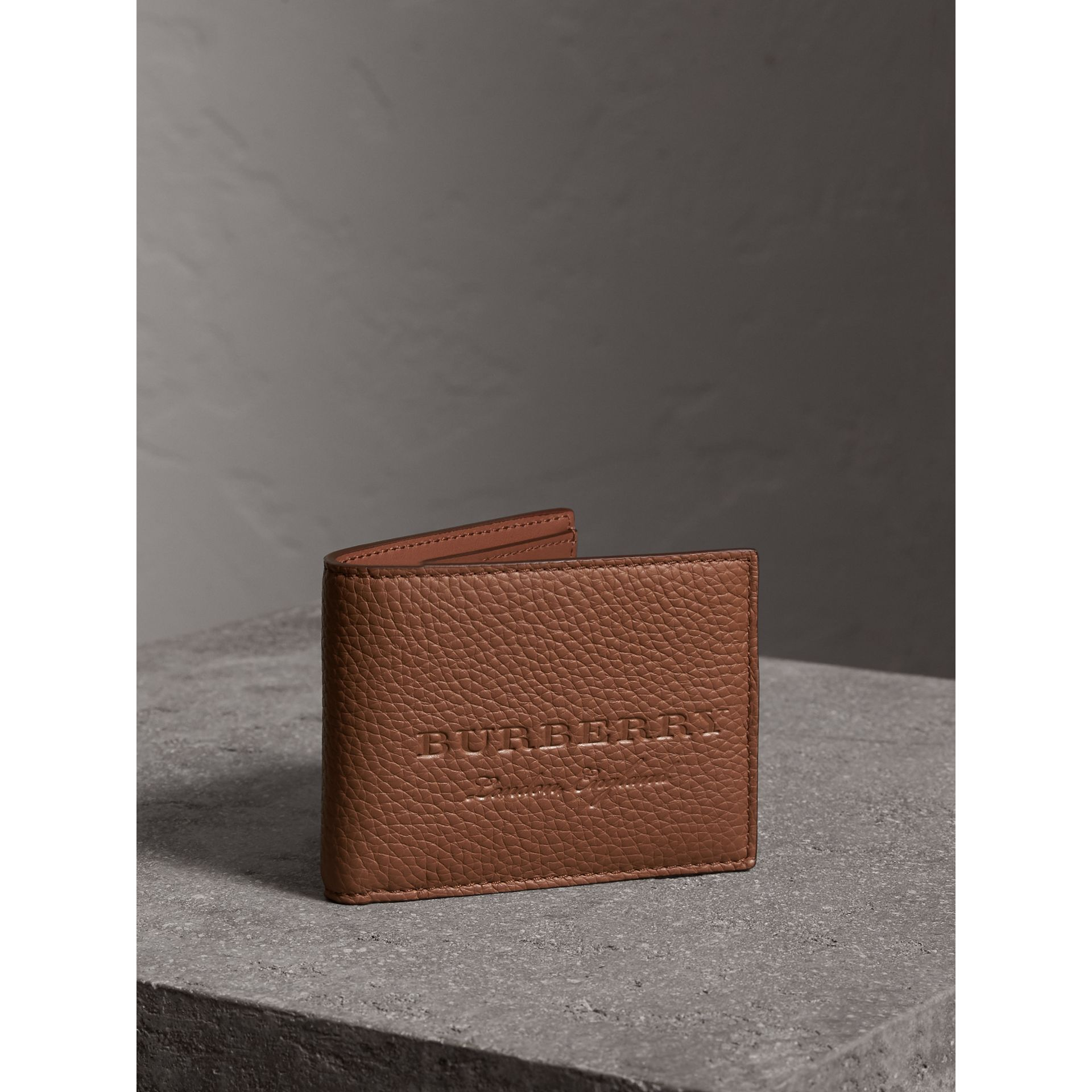 Textured Leather Bifold Wallet in Chestnut Brown - Men | Burberry - gallery image 1