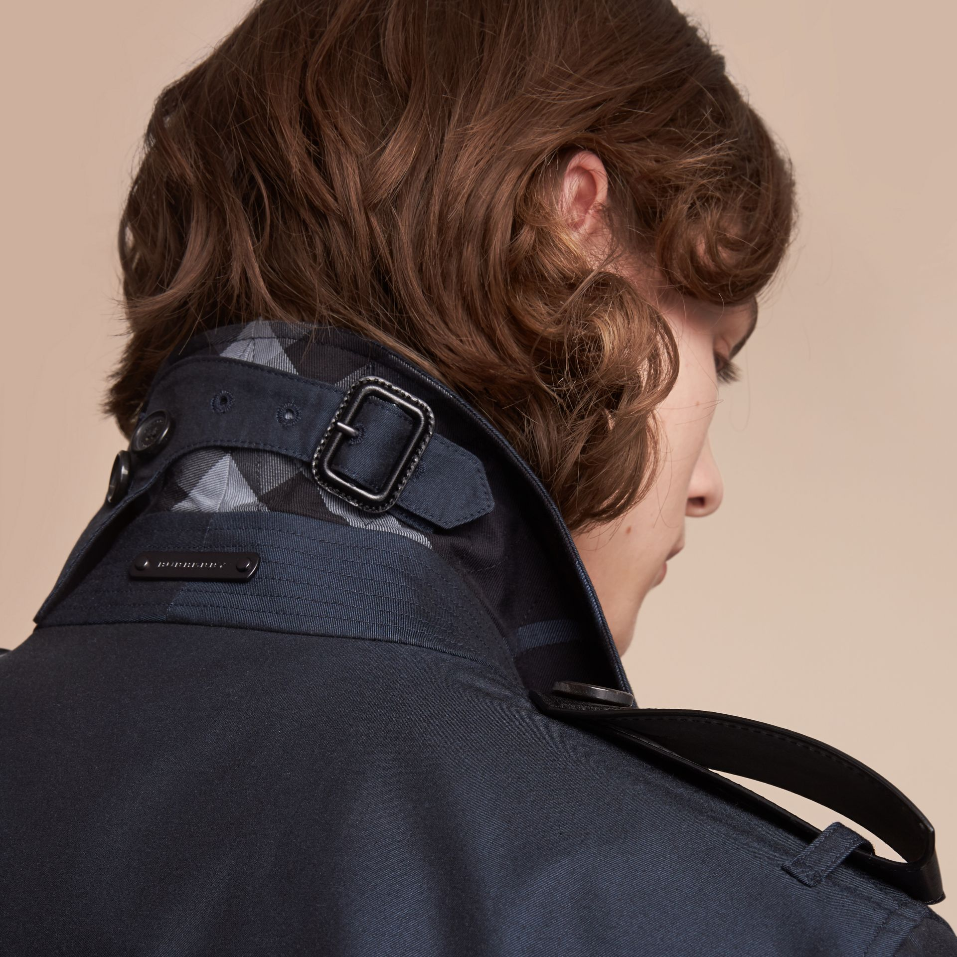 Leather Detail Cotton Gabardine Trench Coat - Men | Burberry - gallery image 6