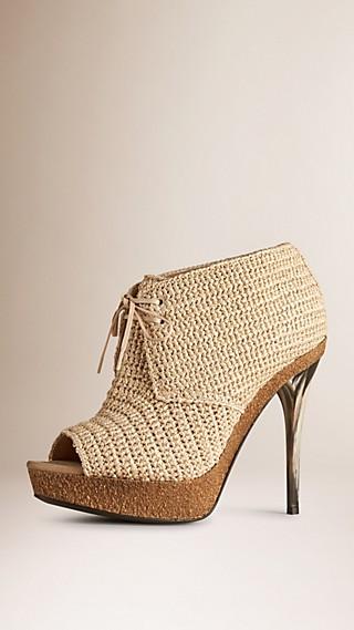 Raffia Peep-toe Ankle Boots