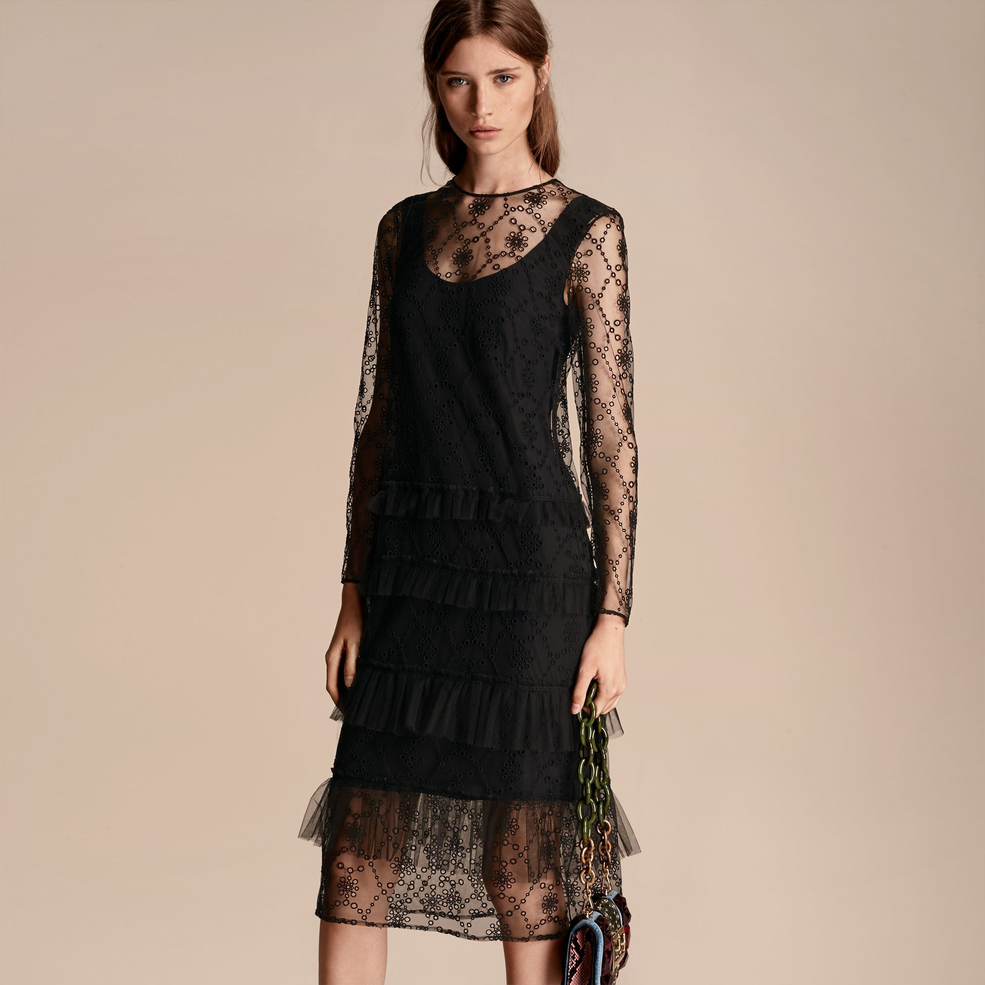 Black Embroidered Tulle Tiered Dress - gallery image 7