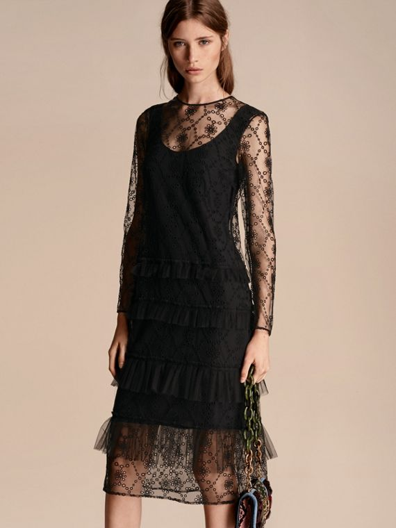Embroidered Tulle Tiered Dress