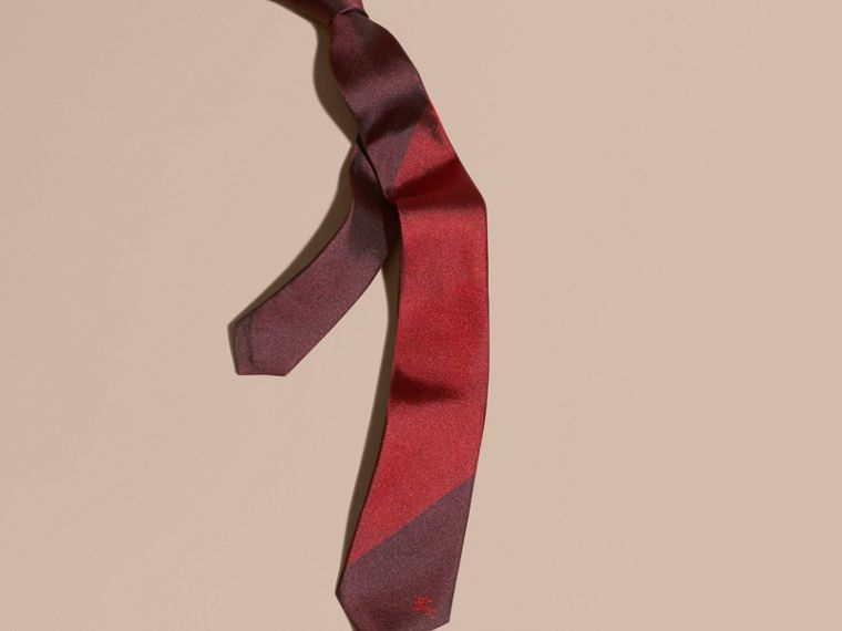 Parade red Slim Cut Striped Jacquard Silk Tie - cell image 2