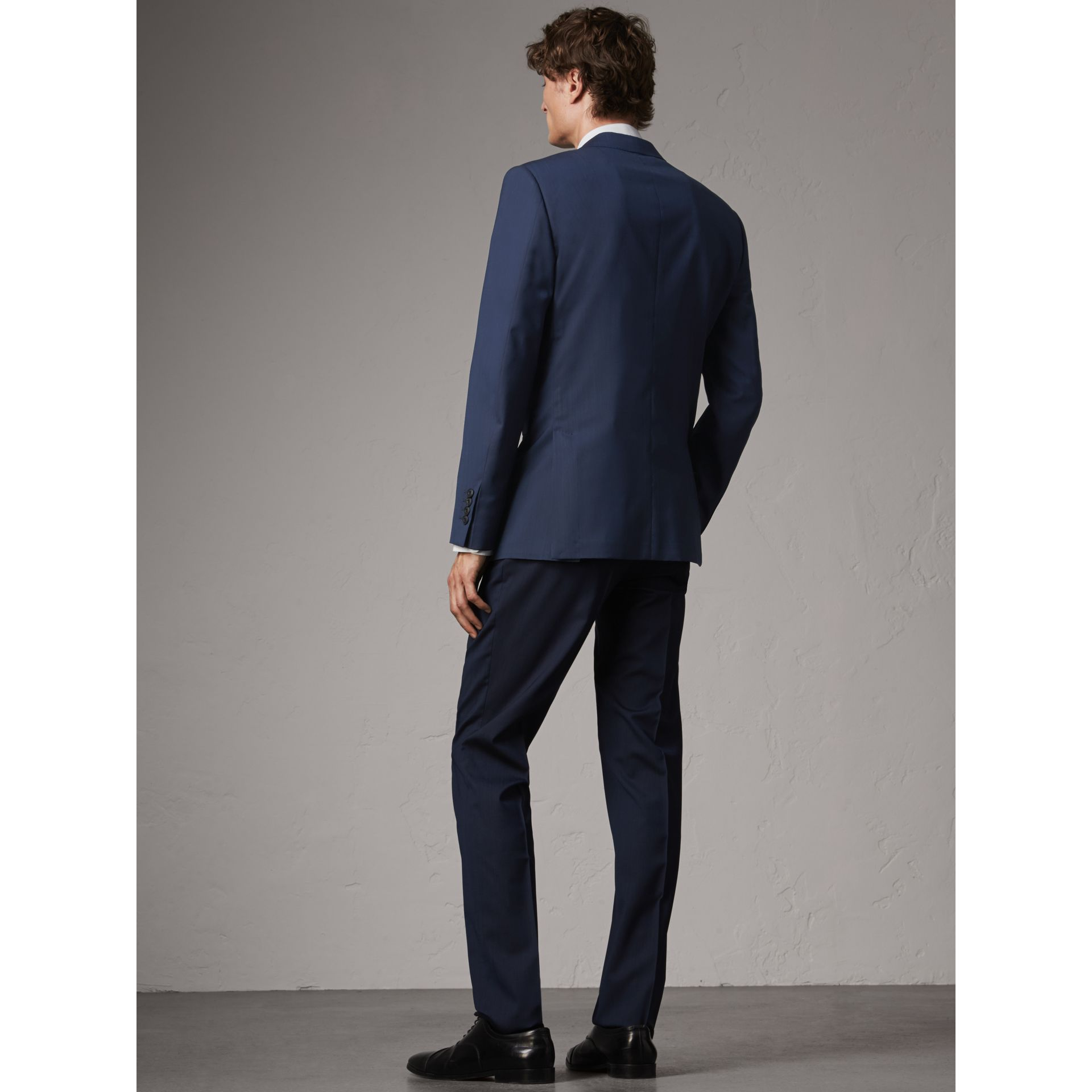 Modern Fit Stretch Wool Suit in Navy - Men | Burberry United Kingdom - gallery image 3