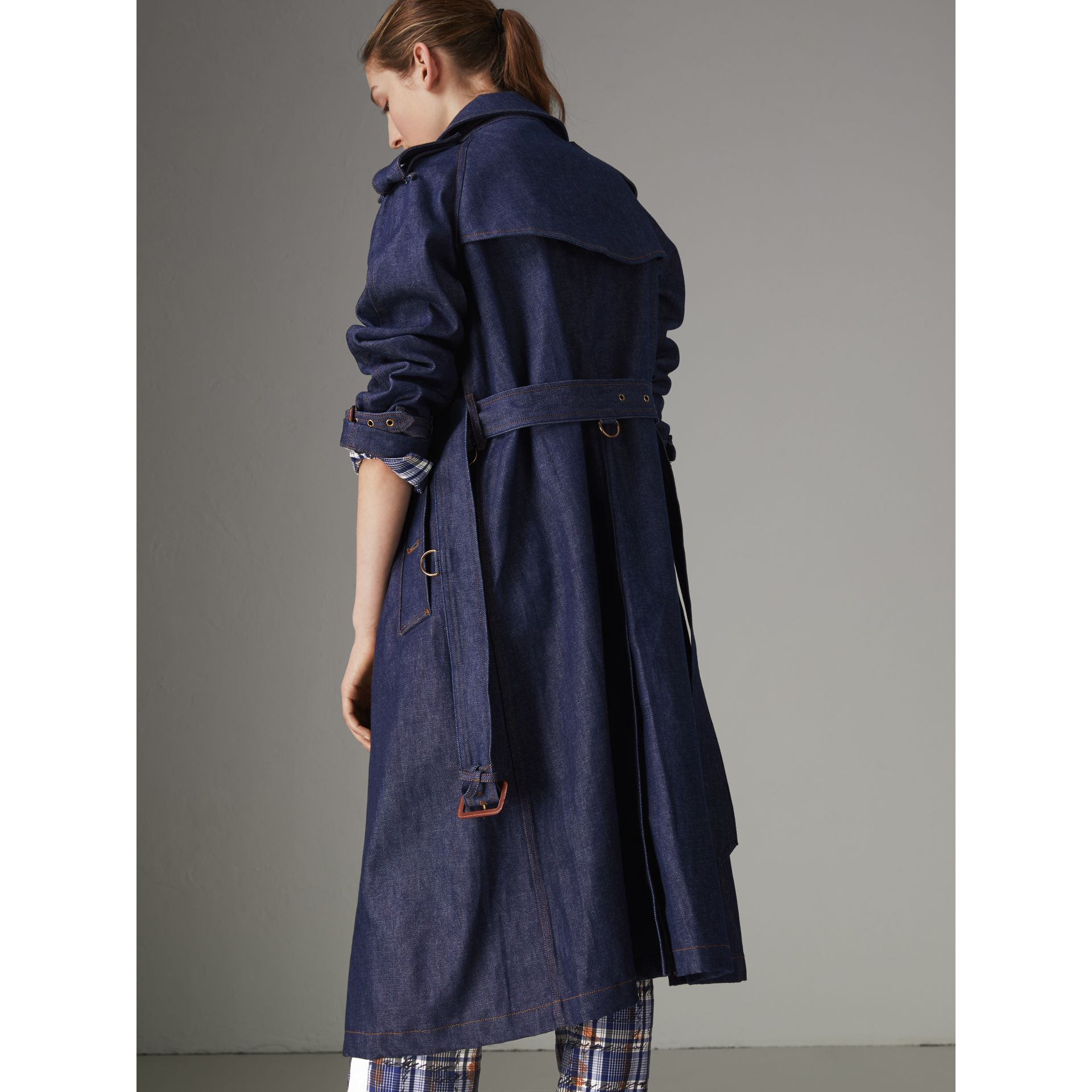 Denim Trench Coat in Dark Cobalt - Women | Burberry Canada - gallery image 2