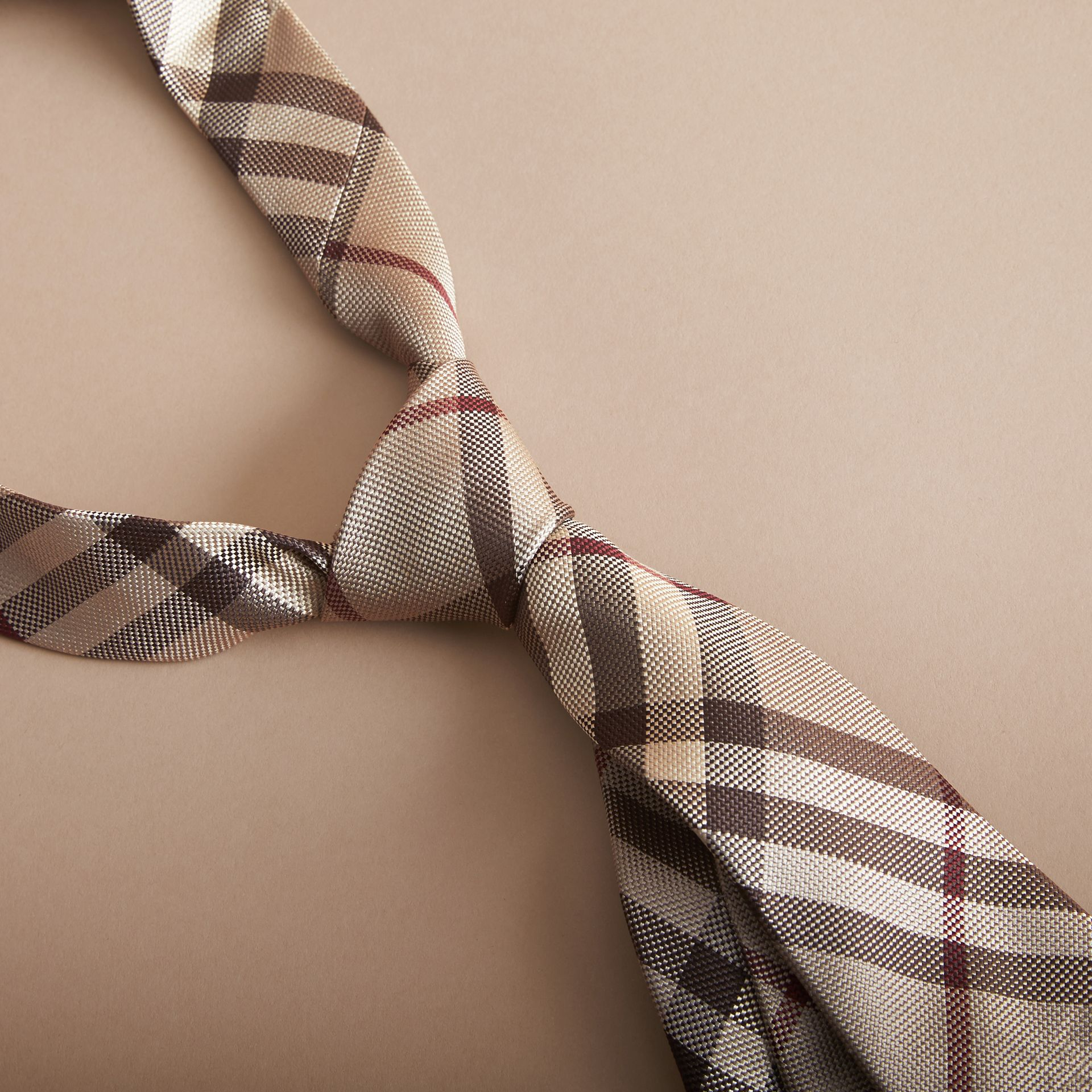 Modern Cut Check Silk Tie in Smoked Trench - Men | Burberry - gallery image 2