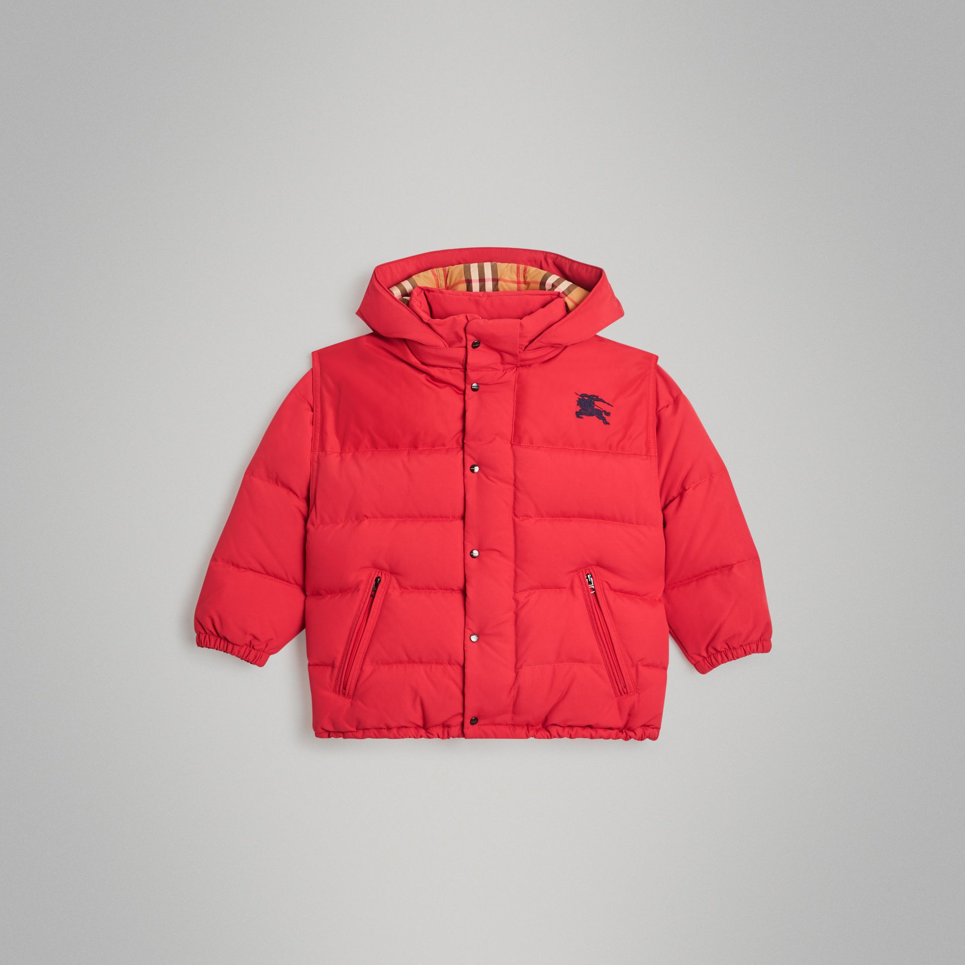 Down-filled Hooded Puffer Jacket in Bright Red | Burberry Canada - gallery image 0