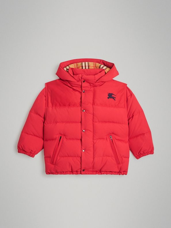Down-filled Hooded Puffer Jacket in Bright Red