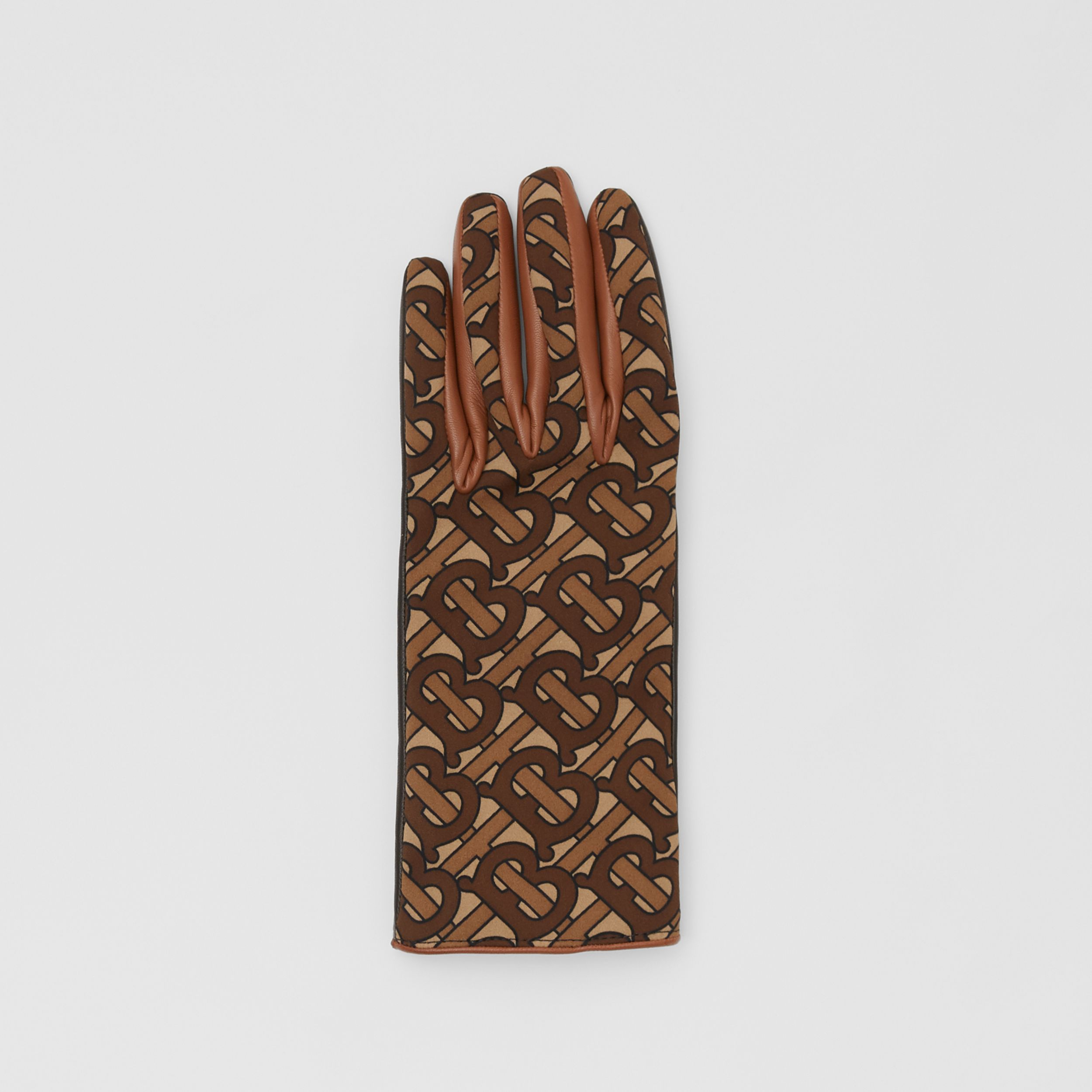 Cashmere-lined Monogram Print Lambskin Gloves in Bridle Brown | Burberry - 3
