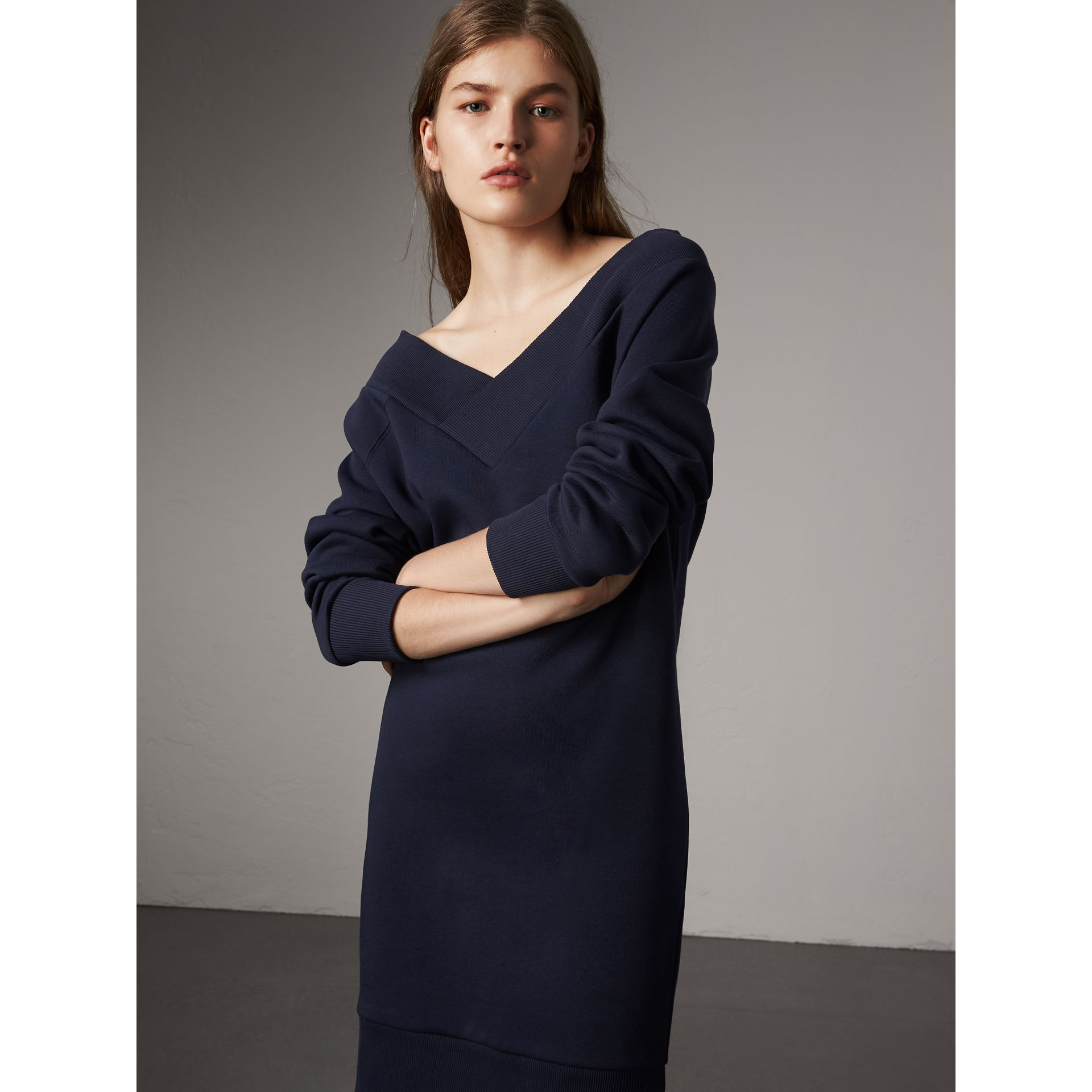 Cotton Blend V-neck Sweater Dress in Navy - Women | Burberry - gallery image 0