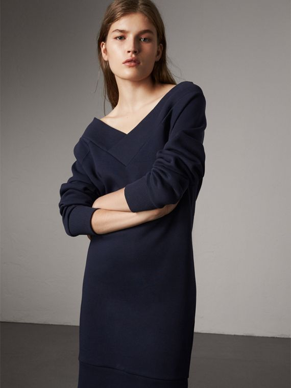 Cotton Blend V-neck Sweater Dress in Navy