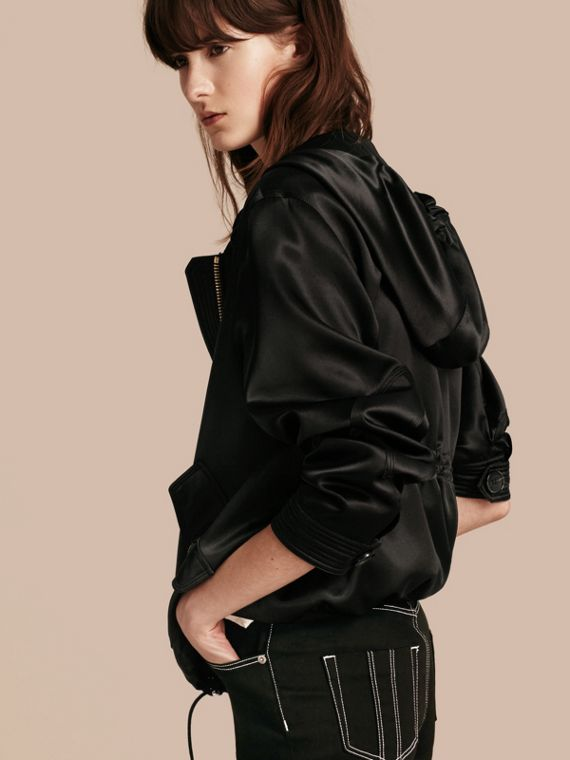 Black Silk Satin Hooded Jacket - cell image 2