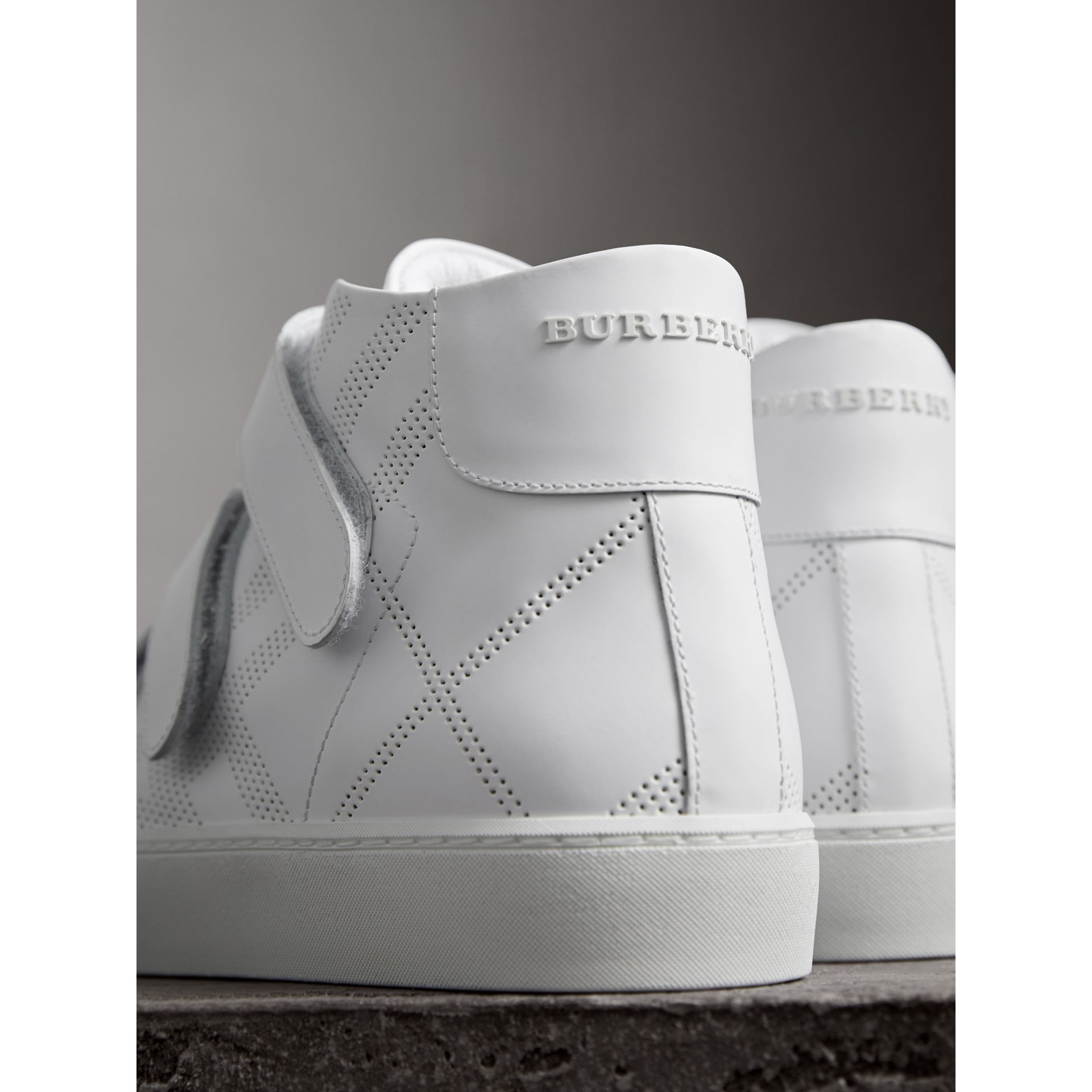 Perforated Check Leather High-top Trainers in Optic White - Women | Burberry United States - gallery image 2