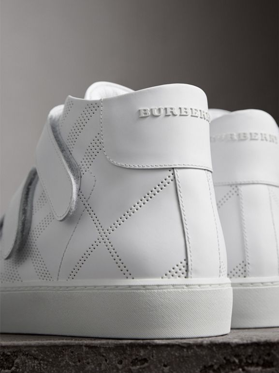 Perforated Check Leather High-top Sneakers in Optic White - Women | Burberry United Kingdom - cell image 1