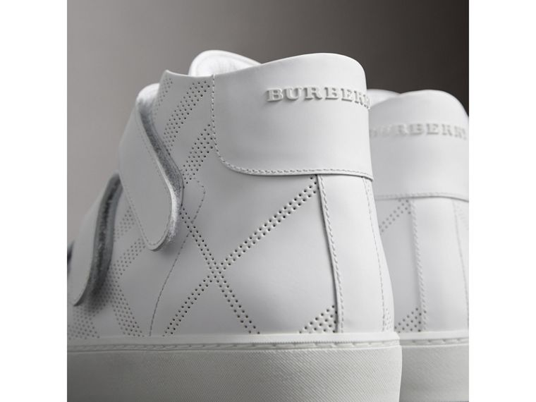 Perforated Check Leather High-top Trainers in Optic White - Women | Burberry - cell image 1