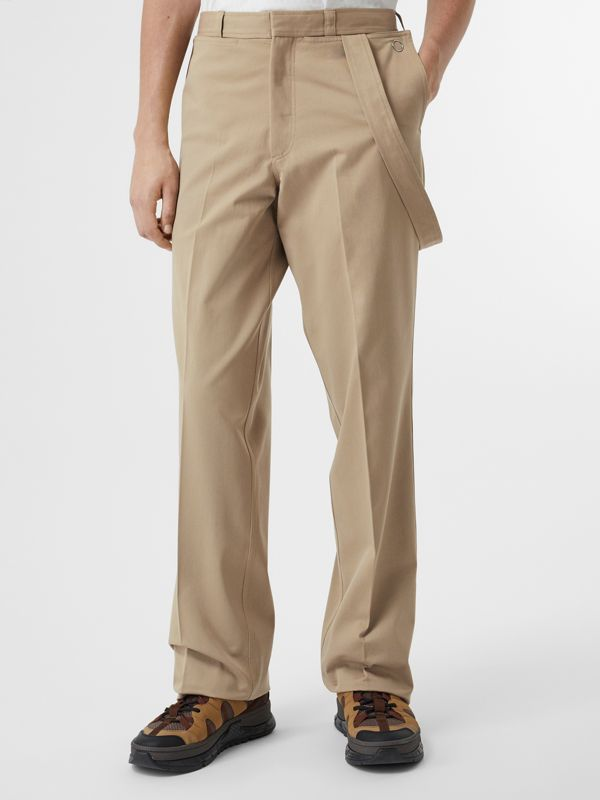 Strap Detail Cotton Trousers in Desert | Burberry Australia - cell image 3