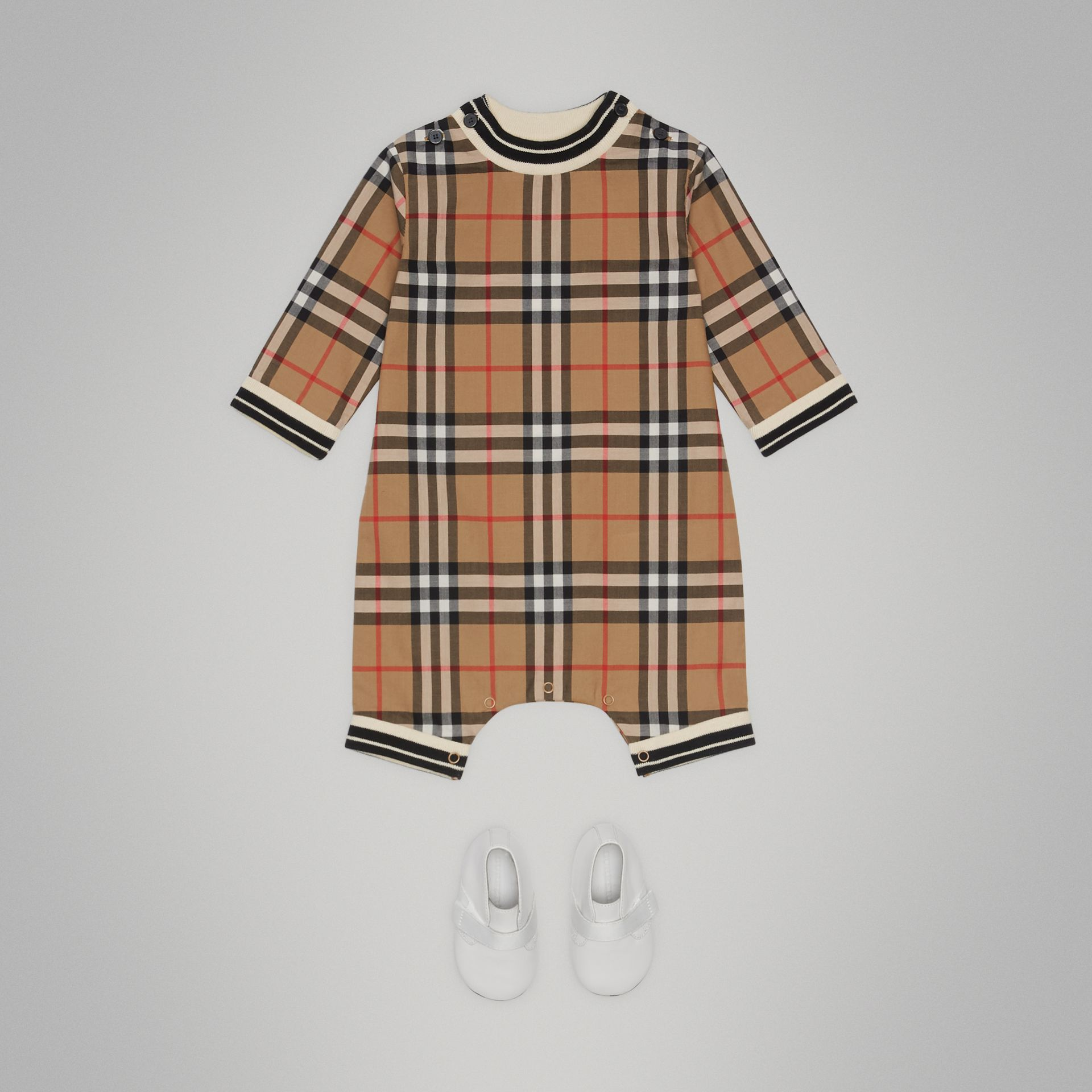 Vintage Check Cotton Poplin Jumpsuit in Antique Yellow - Children | Burberry Australia - gallery image 2