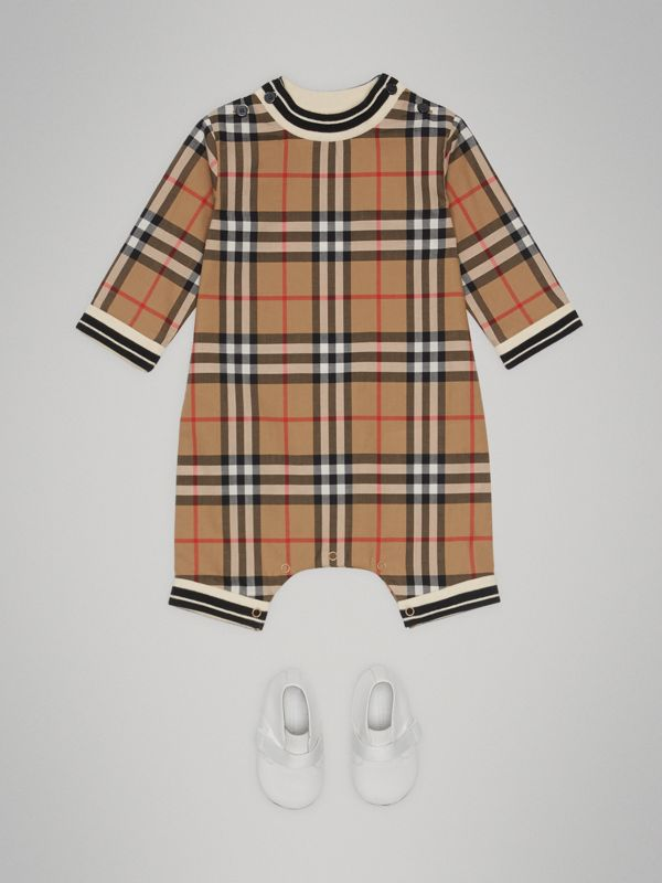 Vintage Check Cotton Poplin Jumpsuit in Antique Yellow - Children | Burberry Australia - cell image 2