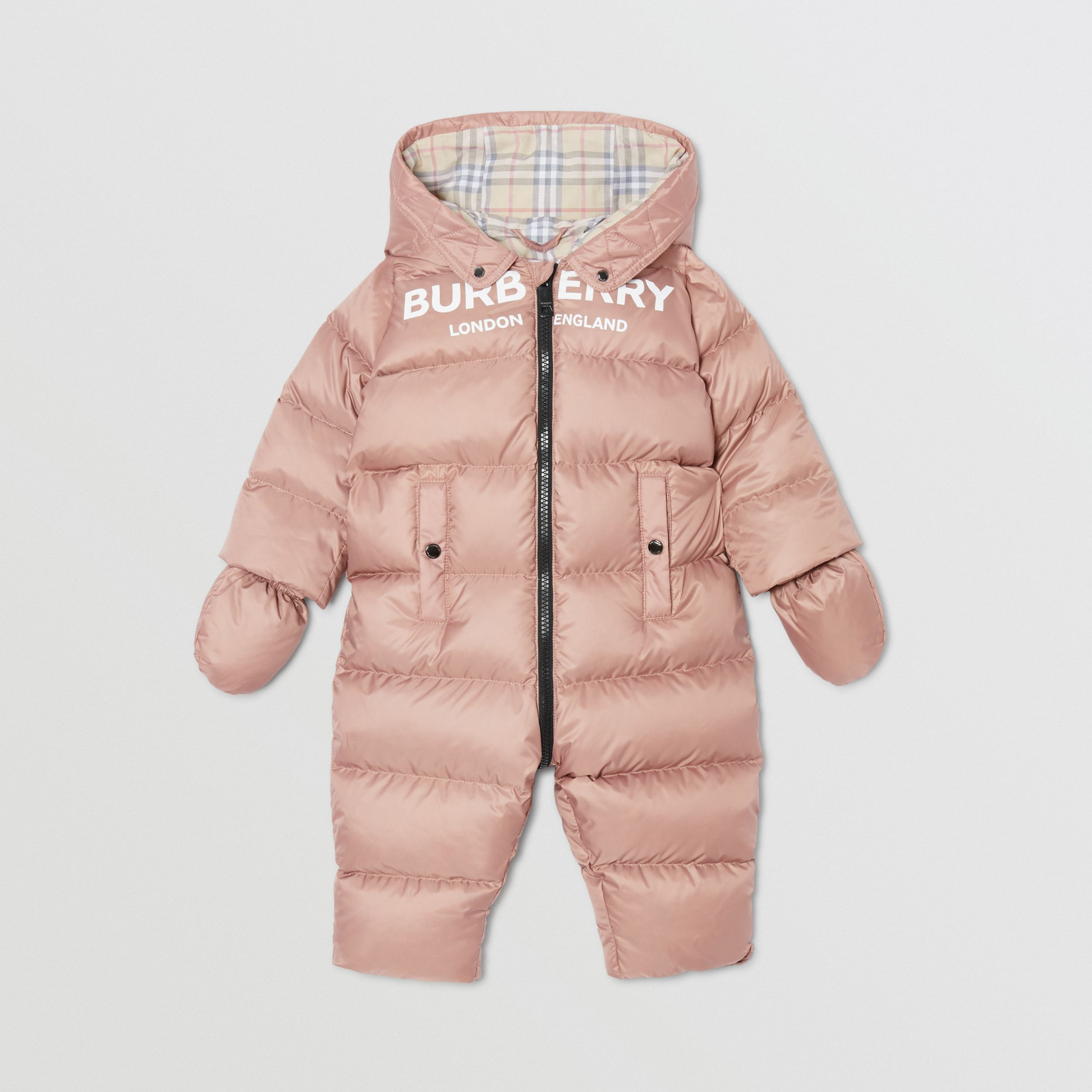 Logo Print Down-filled Puffer Suit in Lavender Pink - Children | Burberry - 3