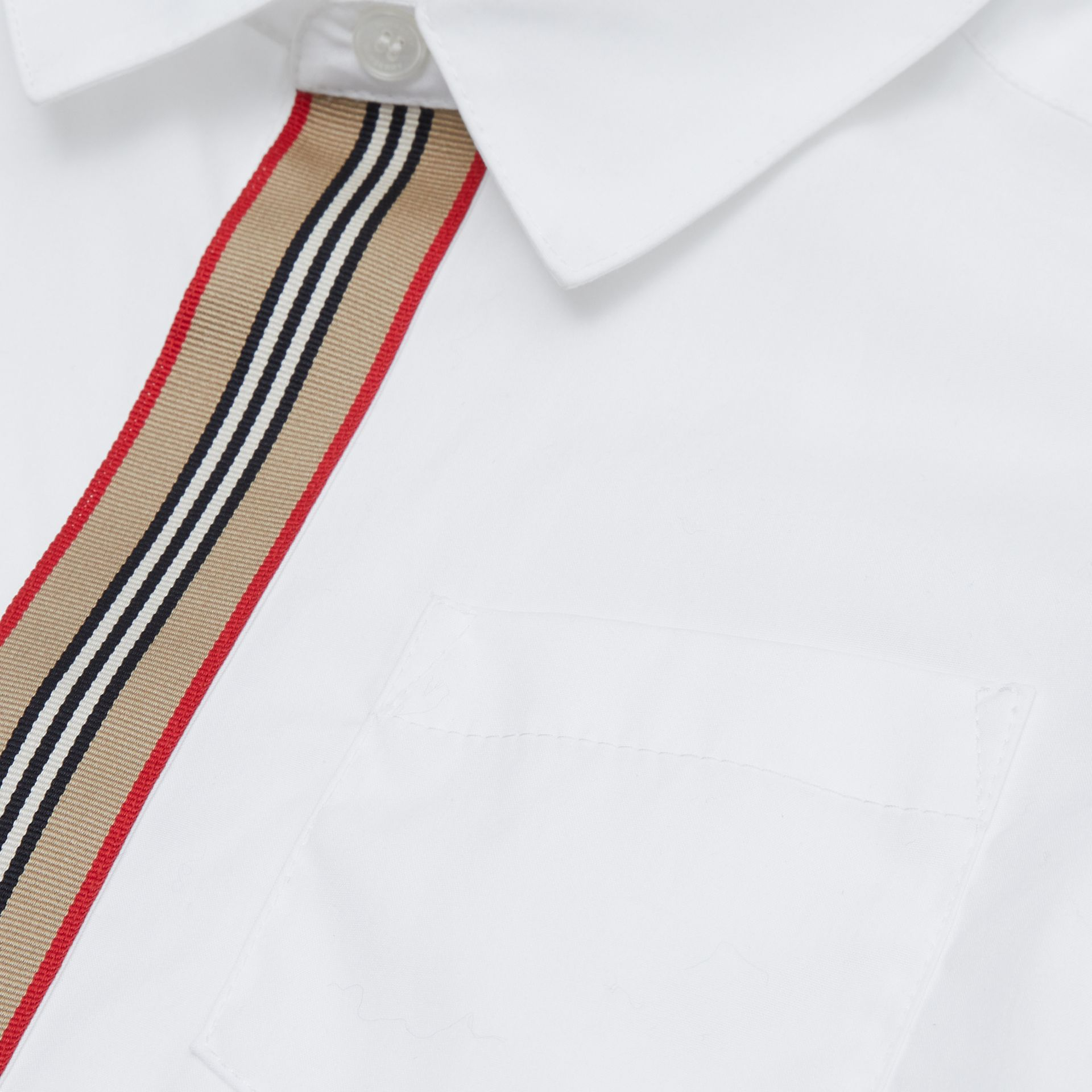 Icon Stripe Trim Stretch Cotton Shirt in White | Burberry United States - gallery image 1