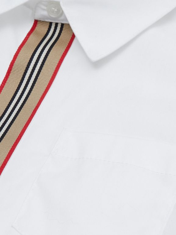 Icon Stripe Trim Stretch Cotton Shirt in White | Burberry United States - cell image 1
