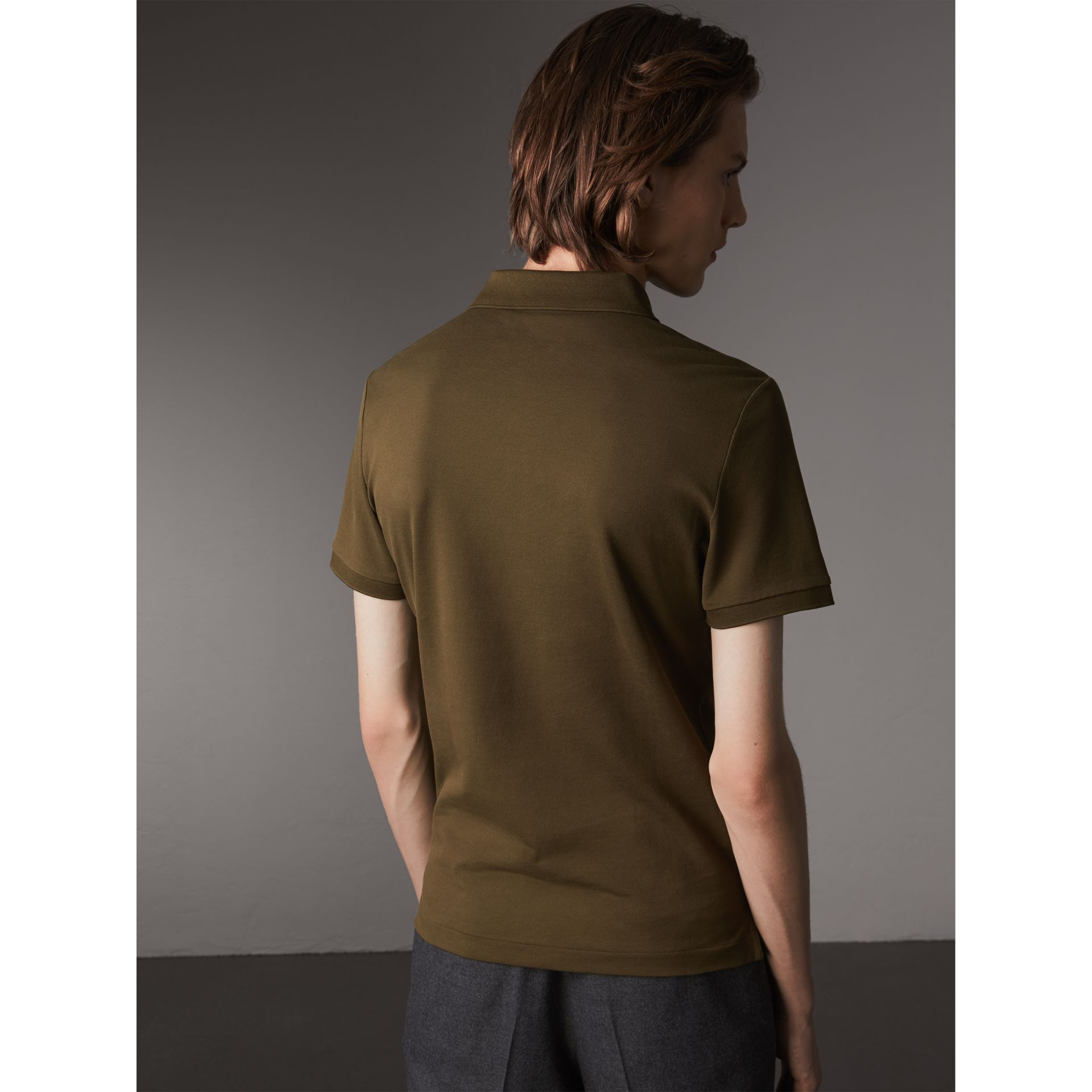 Cotton Piqué Polo Shirt in Dark Olive - Men | Burberry - gallery image 3