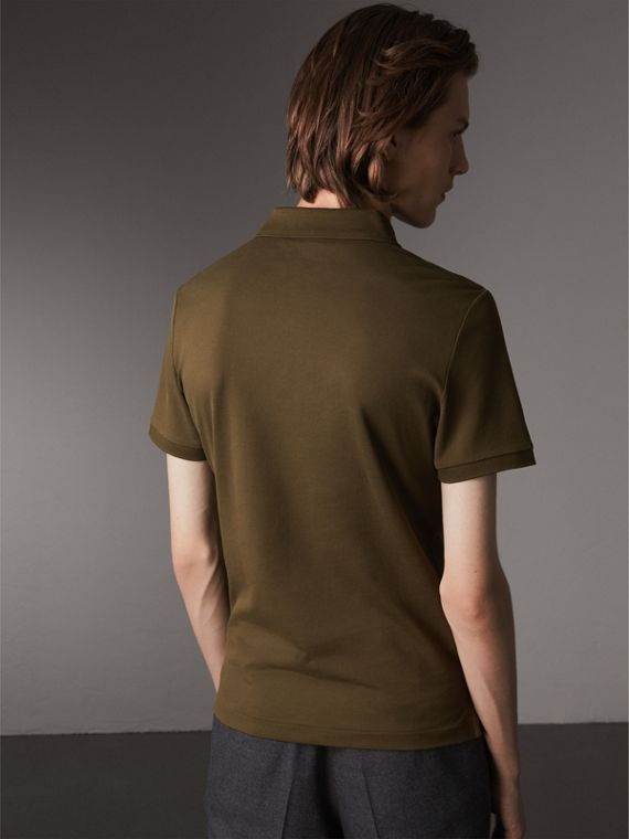 Cotton Piqué Polo Shirt in Dark Olive - Men | Burberry - cell image 2