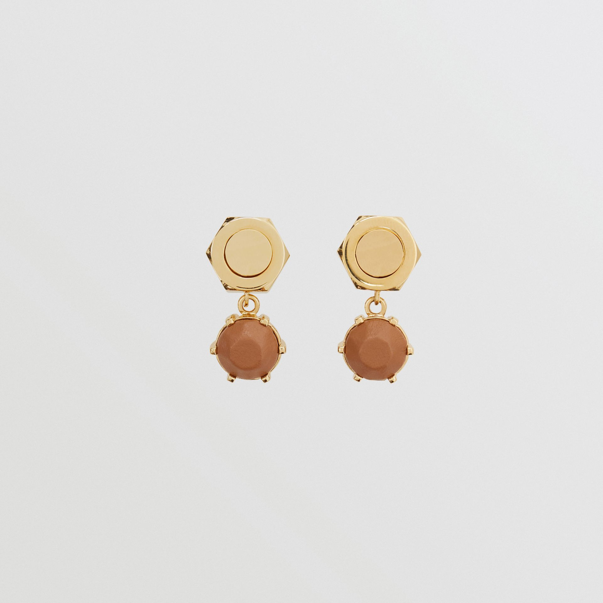 Leather Charm Gold-plated Nut and Bolt Earrings in Nutmeg/light - Women | Burberry Hong Kong S.A.R - gallery image 0