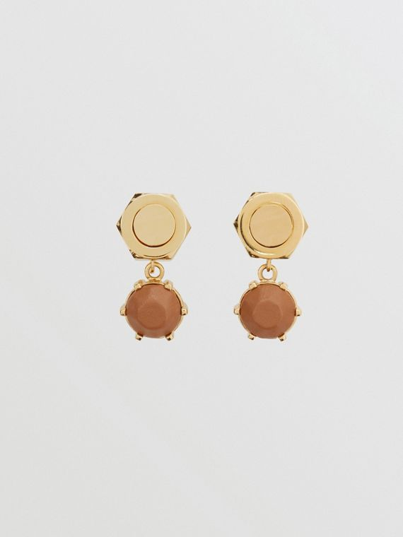 Leather Charm Gold-plated Nut and Bolt Earrings in Nutmeg/light