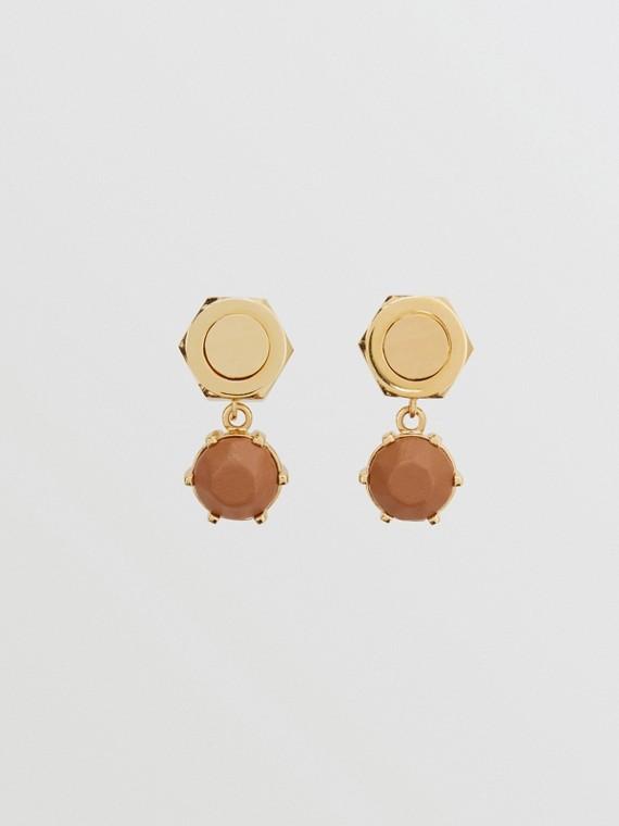 Boucles d'oreilles écrou plaquées or avec cuir (Noix De Muscade/or Clair)