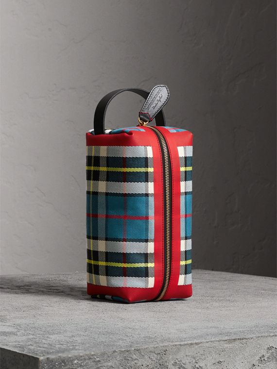 Beauty case in cotone con motivo tartan (Blu)