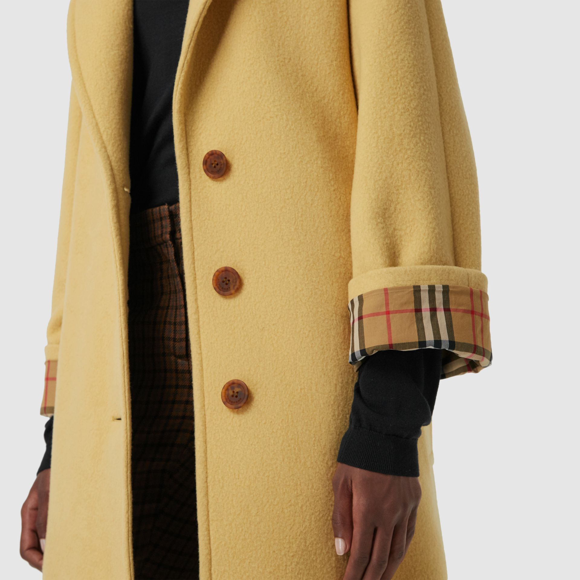 Wool Blend Tailored Coat in Camomile - Women | Burberry Canada - gallery image 1