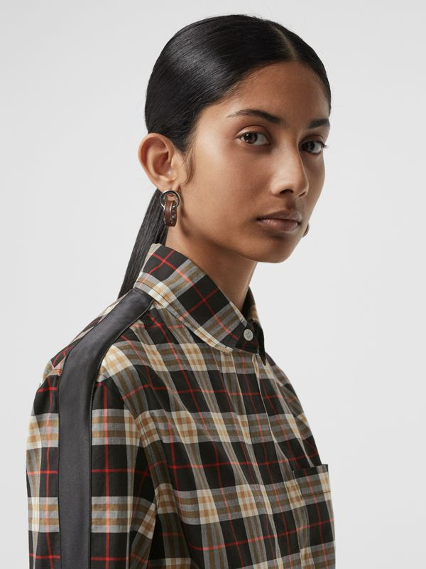 Stripe Detail Check Cotton Shirt in Midnight - Women | Burberry United Kingdom - cell image 3