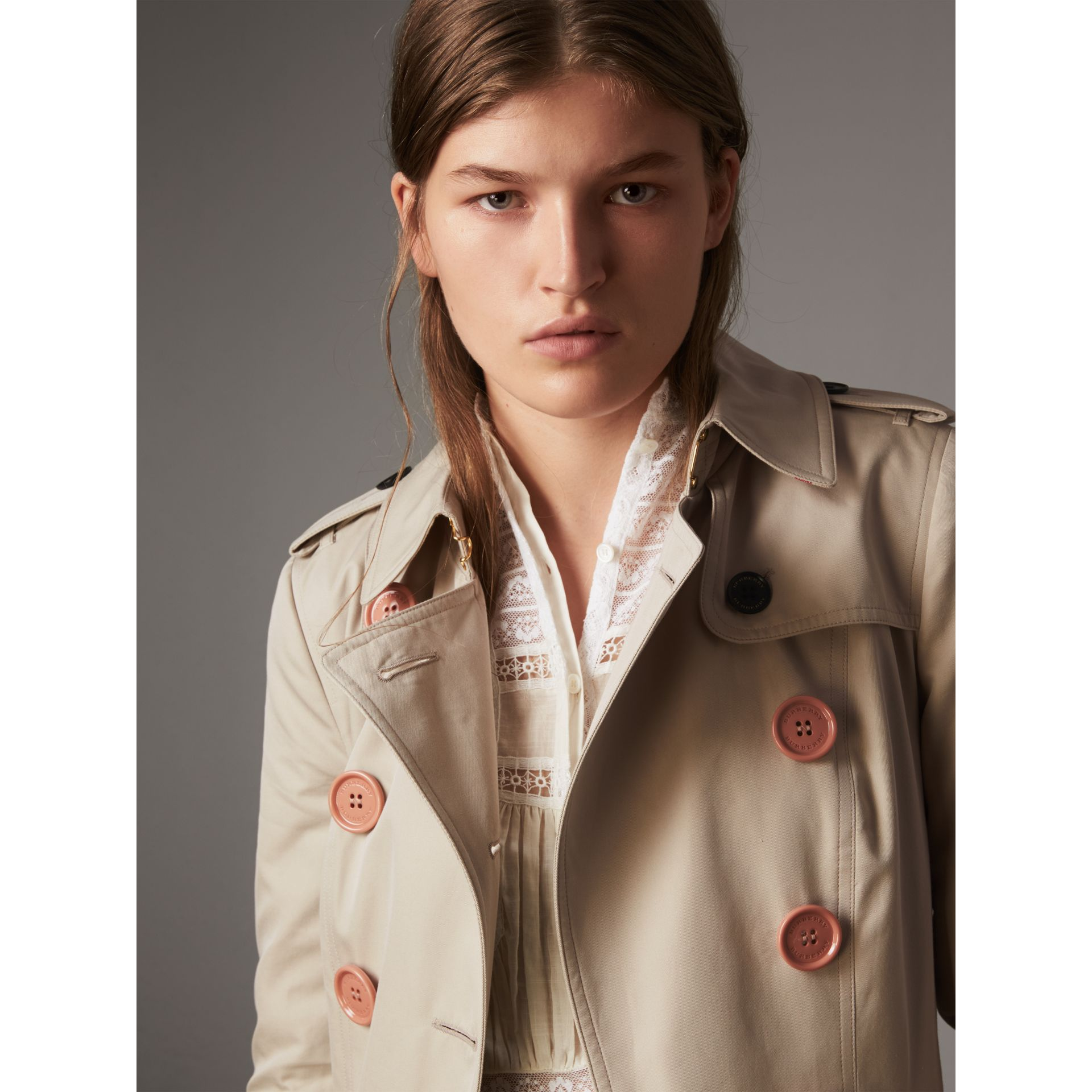 Resin Button Cotton Gabardine Trench Coat in Stone - Women | Burberry Canada - gallery image 2