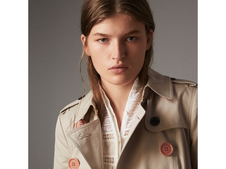 Resin Button Cotton Gabardine Trench Coat in Stone - Women | Burberry - cell image 1