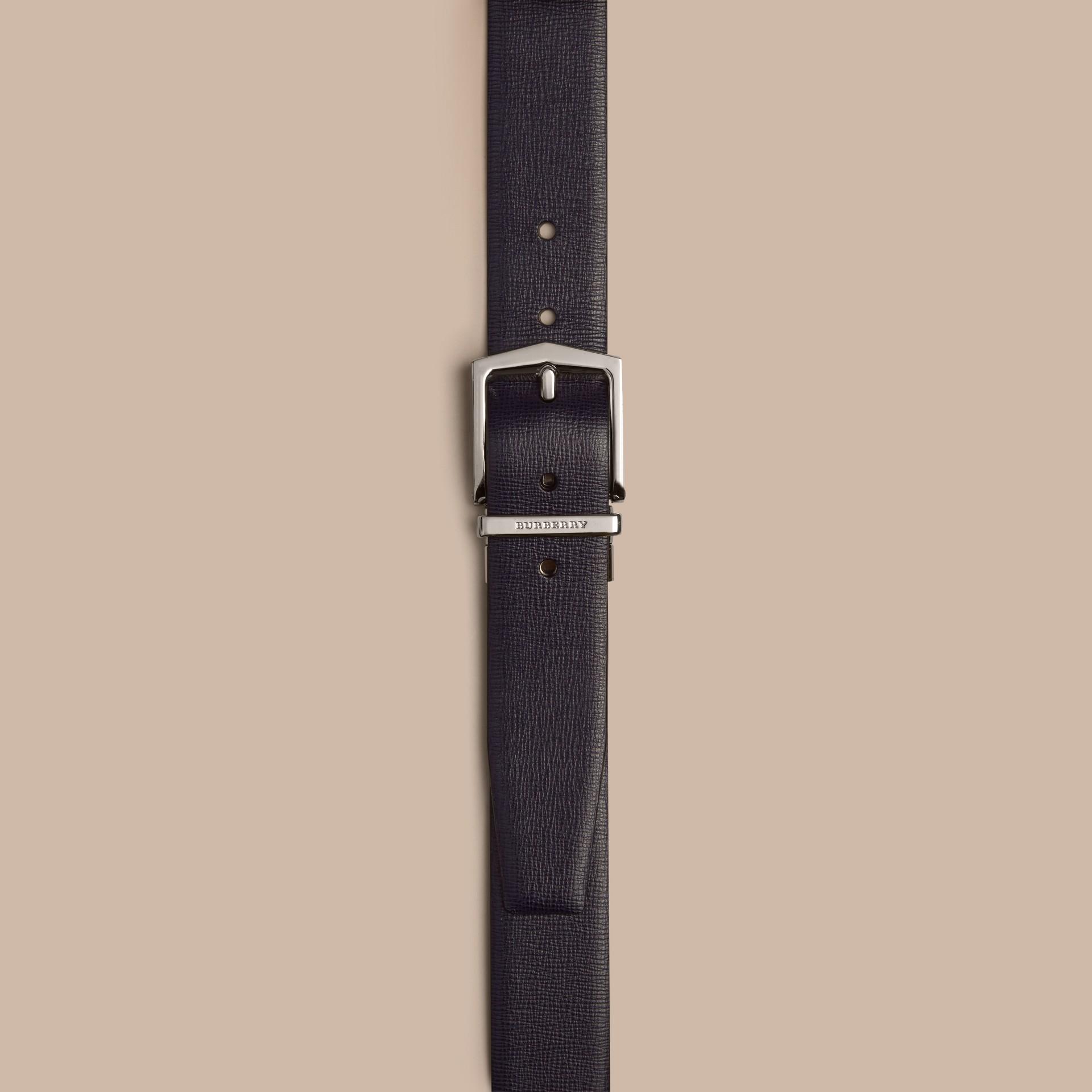 Navy scuro/nero Cintura double face in pelle London Navy Scuro/nero - immagine della galleria 2