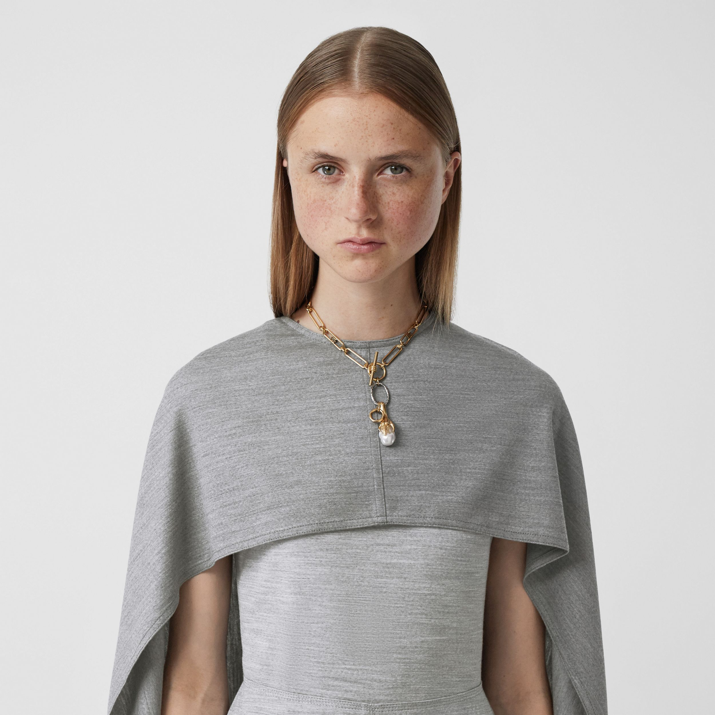 Cape Detail Technical Wool Jersey Shift Dress in Cloud Grey - Women | Burberry - 2