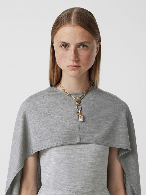 Cape Detail Technical Wool Jersey Shift Dress in Cloud Grey - Women | Burberry United States - cell image 1